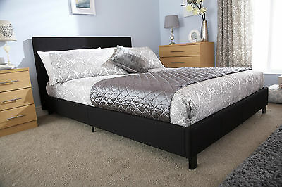 5ft King Size Black Fabric Hopsack Modern Bed in a box bedstead