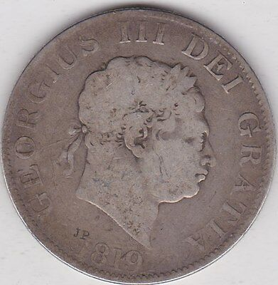 1819 George Iii Silver Half Crown In A Used Fair To Fine Condition