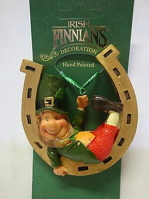 DECLAN'S FINNIANS Leprechaun on horseshoe hanging ornament