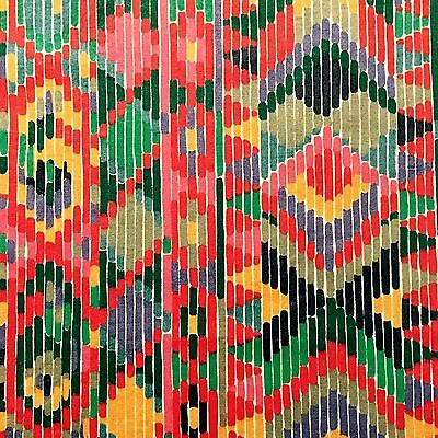 Vtg Collier Campbell Tribal Ikat Fabric Liberty DIY pic cushion retro 80's geo