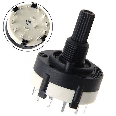 10pcs AC 125V RS26 1 Pole Position 12 Switch Band Rotary Channel Thread Plastic