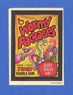 1974 Topps Original Wacky Packages  4th Series OPC Wormy Packages  tan back