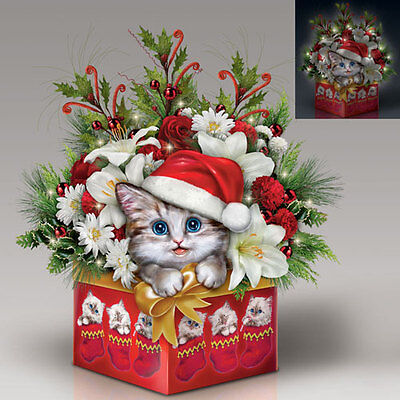 Meowy Christmas Cat in Flowers and Vase - Lights Up Bradford Exchange
