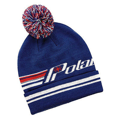 OEM Polaris Blue & Red Retro Cuff Beanie Snowmobile Snocross One Size Fits Most