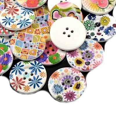 Pack of 30 x Mixed Wood 30mm Round Buttons (4 Hole) HA09785