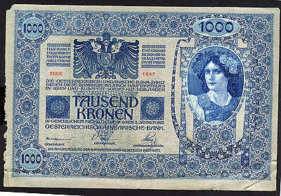 AUSTRIA-HUNGARY 1902 1000 Kr. Banknote GERMAN ON ONE SIDE HUNGARIAN ON THE OTHER