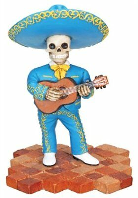 Blue Skeleton Mariachi Band Guitar Player Day of the Dead Figurine
