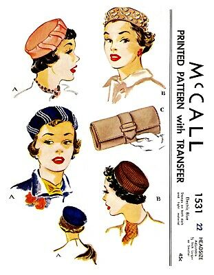Vintage McCall Millinery Hat Bag Purse Fabric Material Sewing Pattern  #1531