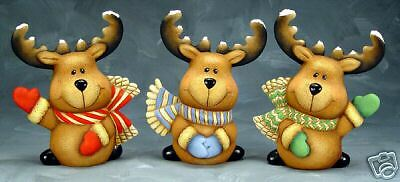 Ceramic Bisque Ready to Paint Three Christmas Reindeer