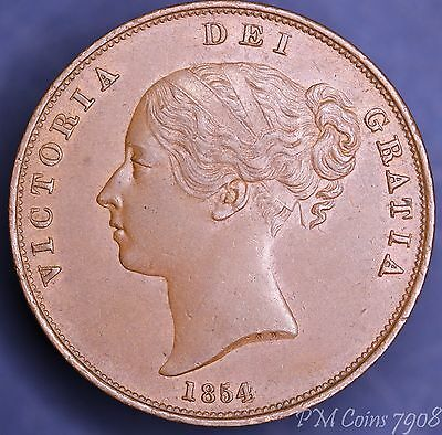 1854 Victoria penny Young Head 1d, EXCELLENT coin [7908]