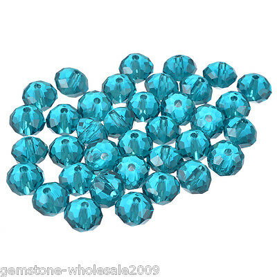 Wholesale Lots Peacock Blue Crystal Glass Faceted Rondelle Beads 8x6.3mm