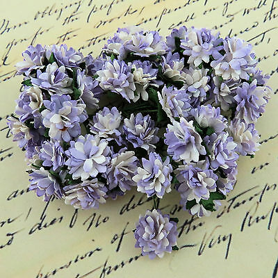 10 x ASTER DAISY STEM FLOWERS Mulberry Paper Flowers Craft & Cards Embellishment