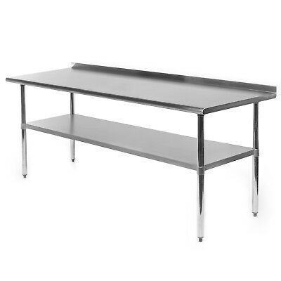 "Stainless Steel Kitchen Restaurant Prep Work Table with Backsplash - 24"" x 72"""