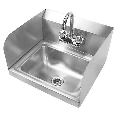 Wall Mount Hand Wash Sink - Commercial Kitchen Stainless Steel w Side Splashes