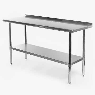"Stainless Steel Kitchen Restaurant Prep Work Table with Backsplash - 24"" x 60"""