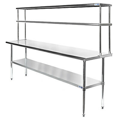 "Commercial Stainless Steel Kitchen Prep Table with Double Overshelf- 30"" x 72"""