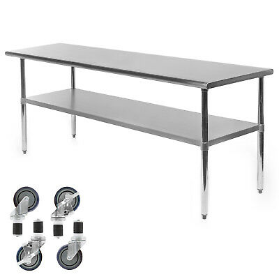 "Commercial Stainless Steel Kitchen Food Prep Work Table w/ 4 Casters - 24"" x 72"""