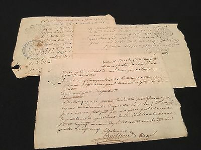 LOT OF THREE OLD DOCUMENTS  1700s