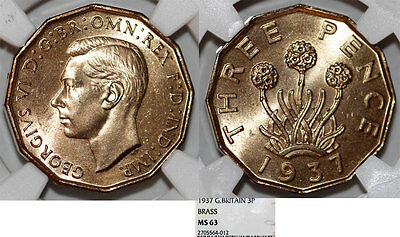 Great Britain. George VI. Brass 3 Pence 1937. NGC MS63