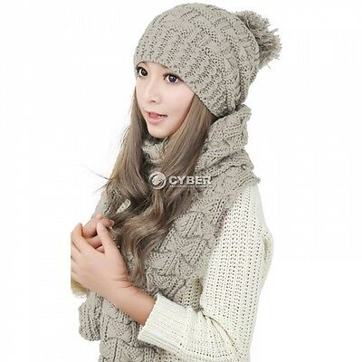Scarf And Hat Set Womens Warm Knitted Beanie Scarves Knit Skullcaps Winter DZ88