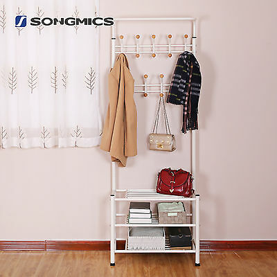 Hall Tree Entryway Organizer Multi-purpose Clothes Coat Stand Shoes Rack HSR04W