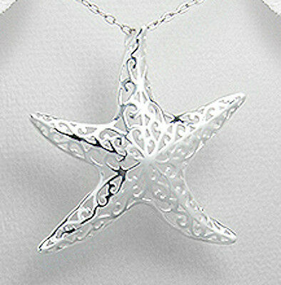 "1.6"" Solid Sterling Silver Fancy Starfish Pendant 4.2g Beautiful"