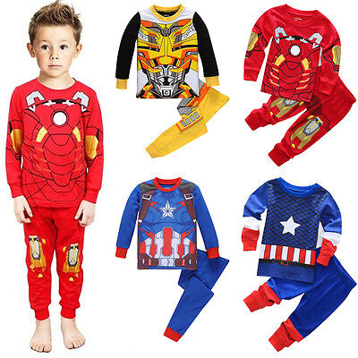 Kids Baby Boy Cartoon Outfit Set Sleepwear Costume T-shirt+Pants Pajama Homewear