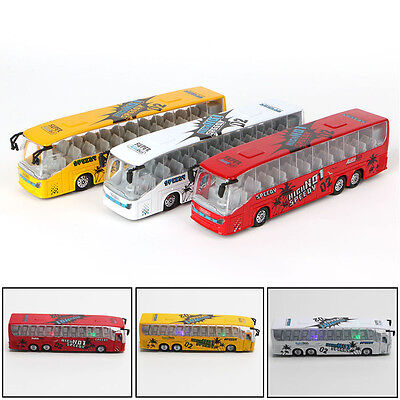 Kids Toy Alloy Bus Model Pull Back Action Openable Door Sound Light Vehicle Gift