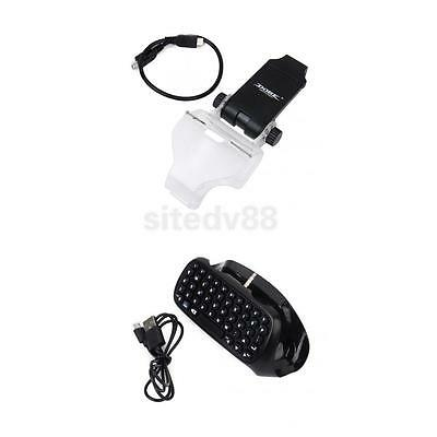 Mini Game Keyboard with Phone Bracket Holder for Sony PS4 Controller - Black
