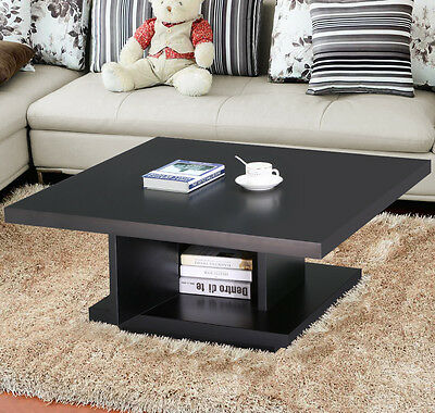 Wood Square Coffee Table Center Storage Living Room Modern Furniture Black