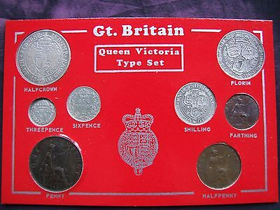 1901 Cased Victorian Set of 8 Coins, Half Crown to Farthing. FREE POSTAGE (A63)
