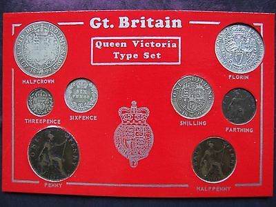 1899 Cased Victorian Set of 8 Coins, Half Crown to Farthing. FREE POSTAGE (A64)