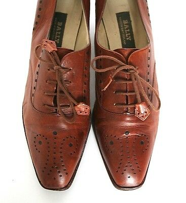 UK 7 Bally Brown Brogue ALL Leather Vintage Shoes - Heels - 40