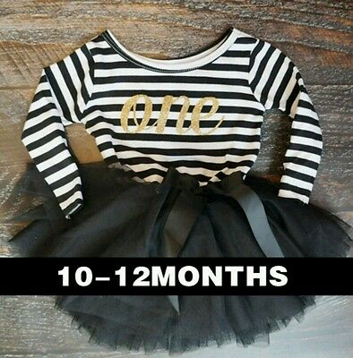 BABY GIRLS1st First BIRTHDAY PARTY DRESS Tutu Ballet black Outfit cake  9-12m L
