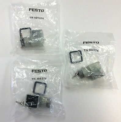 Lot of 3 Festo TN 164 274 Right Angle Socket Pressure Vacuum Switch Valve LED