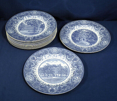 Vtg Antique Wedgwood China University of Michigan 10 Dinner Plates Blue + White
