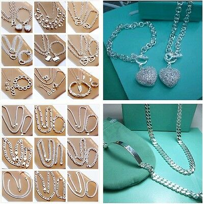 2PCS wholesale Jewelry Solid Silver Ladies Silver Sets Earrings & Necklace S925