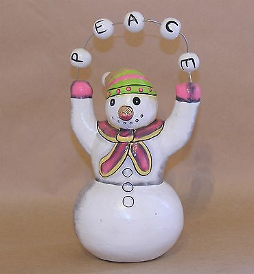 Handcrafted Wooden Christmas Peace Snowman