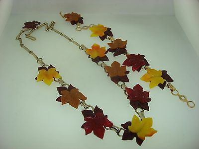 Vintage 1940-50's Lucite Fall Leaves Necklace & Bracelet Set! Amazing Survival!!
