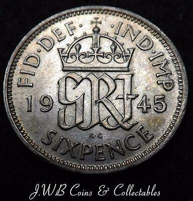 1945 George VI Silver 6d Sixpence Coin - Ref; t/m
