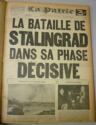 Original Historical Bounded Newspaper Montreal La Patrie July to August 1942