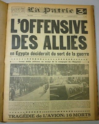 Original Historical Bounded Newspaper Montreal La Patrie September-October 1942