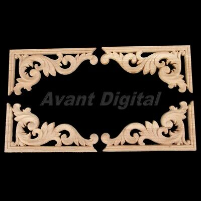 Wood Carved Decal Corner Applique Frame Door Wall Decor 13*7cm(L*W) Unpainted