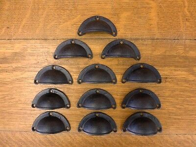 "12 Brown 3"" Cup Pulls Drawer Cabinet Bin Handles Rustic Antique-Style Cast Iron"