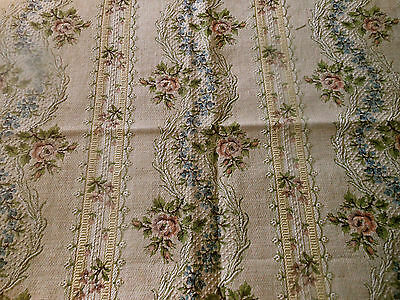 Antique 19thc French Roses Garland Tapestry Fabric ~Rose Blue Eggplant  #4