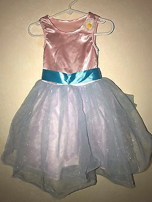 GIRLS size 2/3T DANCE LEOTARD TUTU PINK BLUE large bow DAISY ON SHOULDER super @