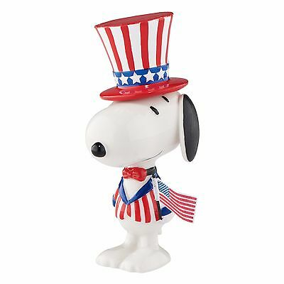 New DEPARTMENT DEPT 56 Figurine PEANUTS SNOOPY Dog Statue USA FLAG STAR SPANGLE