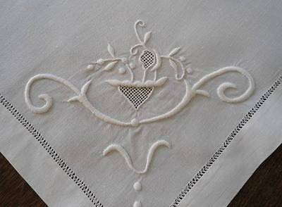 Antique Set White Linen Napkins or Placemats Art Deco Honeycomb Lace