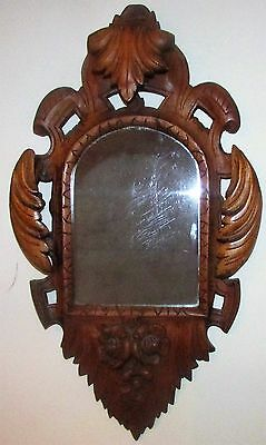 GORGEOUS Antique Mirror Hand Carved Oak Frame Ornate 3D Wooden Arch Picture