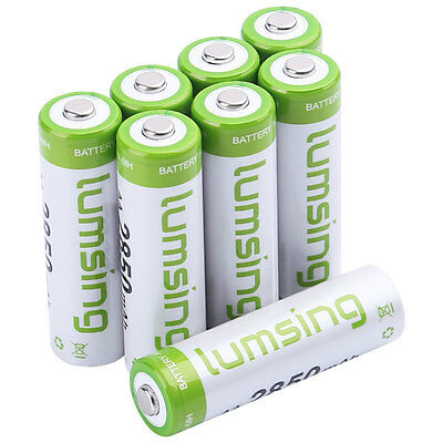 8X Lumsing High Capacity AA 2850mAh 1.2V Ni-MH Rechargeable Batteries & Case CA